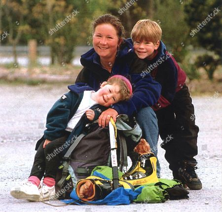Stock Picture of Last photo of Alison Hargreaves with her kids Tom Ballard and Kate Ballard before her fateful trip to K2