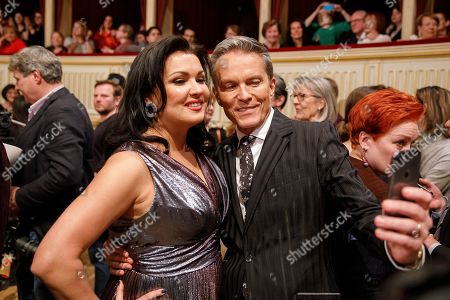 Stock Image of Russian-Austrian soprano Anna Netrebko (L) and Austrian TV-host Alfons Haider (R) pose for a selfie during a dress rehearsal for the traditional 63rd Vienna Opera Ball at the Vienna State Opera in Vienna, Austria, 27 February 2019. The Vienna Opera Ball takes place on 28 February.