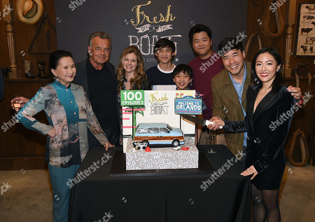 Stock Picture of Randall Park, Constance Wu, Hudson Yang, Ian Chen, Forrest Wheeler, Lucille Soong, Chelsey Crisp and Ray Wise