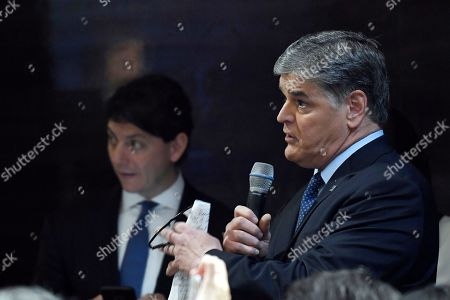 Sean Hannity asks a question of President Donald Trump during a news conference in Hanoi, Vietnam, following his summit with North Korean leader Kim Jong-un
