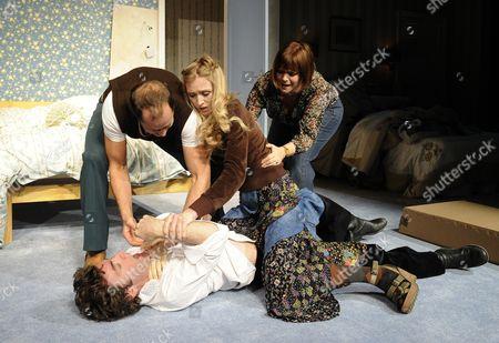 'Bedroom Farce' - Orlando Seale (Trevor), Daniel Betts (Malcolm), Rachel Pickup (Susannah) and Finty Williams (Kate)
