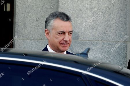 Basque regional President, Inigo Urkullo, leaves the Supreme Court after testifying as a witness in the so-called 'proces' trial against 12 Catalan separatists leaders involved in the illegal independence referendum held back in 2017, in Madrid, Spain, 28 February 2019. Barcelona's Mayoress, Ada Colau, the former Minister of Interior Juan Ignacio Zoido and the Catalan pro-independence ERC party's spokesperson and Member in Parliament, Gabriel Rufian, are among the ten witnesses called to testify in the trial along the day.