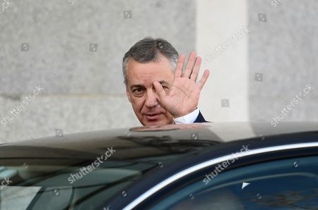 Stock Photo of Basque regional President, Inigo Urkullo, leaves the Supreme Court after testifying as a witness in the so-called 'proces' trial against 12 Catalan separatists leaders involved in the illegal independence referendum held back in 2017, in Madrid, Spain, 28 February 2019. Barcelona's Mayoress, Ada Colau, the former Minister of Interior Juan Ignacio Zoido and the Catalan pro-independence ERC party's spokesperson and Member in Parliament, Gabriel Rufian, are among the ten witnesses called to testify in the trial along the day.