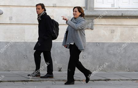Barcelona's Mayoress, Ada Colau (R), arrives to testify as a witness in the so-called 'proces' trial against 12 Catalan separatists leaders involved in the illegal independence referendum held back in 2017 at the Supreme Court in Madrid, Spain, 28 February 2019. Catalan pro-independence ERC party's spokesperson and Member in Parliament, Gabriel Rufian, the former Minister of Interior Juan Ignacio Zoido and the Basque regional President, Inigo Urkullo, are among the ten witnesses called to testify in the trial along the day.