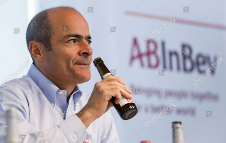 Stock Image of Carlos Brito, Chief Executive of Anheuser-Busch InBev, presents the company's results for 2018 during a news conference in Leuven, Belgium, 28 February 2019. The number one brewer in the world Anheuser-Bush InBev (AB InBev) announced a solid revenue growth of 4.8 percent and total volumes grew by 0.3 percent.