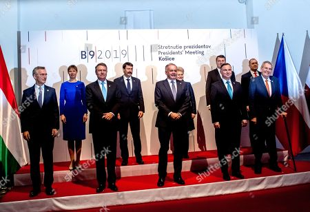 (L-R, bottom) NATO Secretary General Jens Stoltenberg, Romanian President Klaus Iohannis, Slovak President Andrej Kiska, Polish President Andrzej Duda, Czech President Milos Zeman, (L-R, top) Estonian President Kersti Kaljulaid, Hungarian President Janos Ader, Lithuanian President Dalia Grybauskaite, Latvian President Raimonds Vejonis and Bulgarian President Rumen Radev pose for photographers during the Meeting of Presidents of States of Central and Eastern Europe (called the Bucharest format, or B9), in Kosice, Slovakia, 28 February 2019. The B9 countries' presidents from Bulgaria, Czech Republic, Estonia, Lithuania, Latvia, Hungary, Poland, Romania and Slovakia together with NATO Secretary General Jens Stoltenberg, commemorate the 70th anniversary of the North Atlantic Treaty Organization (NATO), the 15th anniversary of the accession of the Slovak Republic and other B9 members to NATO, and the 20th anniversary of the accession of the Czech Republic, Hungary and Poland. Main subjects discussed at this meeting are expected to be the increasing spreading of misinformation and the defence against cyber threats and propaganda. The current security situation in Europe and its neighbourhood will also be a topic of the discussions.