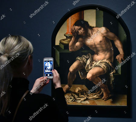 Jan Gossaert, Christ on the Cold Stone, c.1530, at The Renaissance Nude exhibition at Royal Academy of Arts,