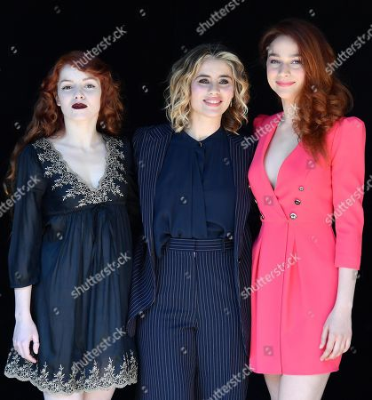 Camilla Diana (L), Greta Scarano (C) and Antonia Fotaras (R) pose during the photocall for the Rai TV series 'Il nome della rosa' (The Name of the Rose) in Rome, Italy, 28 February 2019.