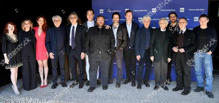 Italian director Giacomo Battiato (4-L) poses with the actors/cast members Camilla Diana, Greta Scarano, Antonia Fotaras, John Turturro, Maurizio Lombardi, Stefano Fresi, Fausto Maria Sciarappa, Benjamin Stender, Fabrizio Bentivoglio, Roberto Herlitzka, Guglielmo Favilla, Alfredo Pea and Max Malatesta during the photocall for the Rai TV series 'Il nome della rosa' (The Name of the Rose) in Rome, Italy, 28 February 2019.