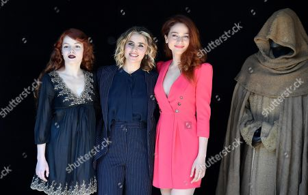 Camilla Diana (L), Greta Scarano (C) and Antonia Fotaras (R) pose during the photocall for the Rai TV series 'Il nome della rosa' (The Name of the Rose) in Rome, Italy, 28 February 2019.