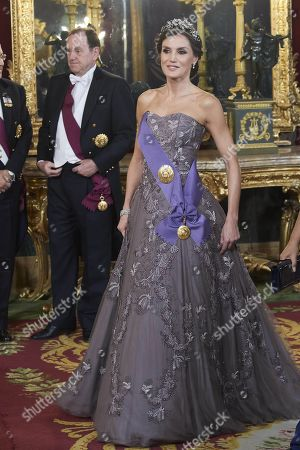 Queen Letizia attends a gala dinner at the Royal Palace in Madrid