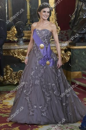 Stock Picture of Queen Letizia attends a gala dinner at the Royal Palace in Madrid