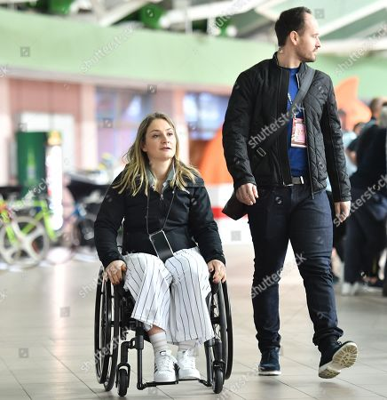 Kristina Vogel arrives at the Velodrome ahead of commentary on the evening finals session.
