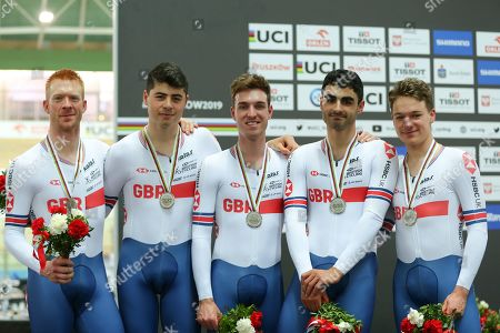 Great Britain's Ed Clancy, Charlie Tanfield, Oliver Wood, Kian Emadi and Ethan Hayter on the Podium for Men's Team Pursuit.