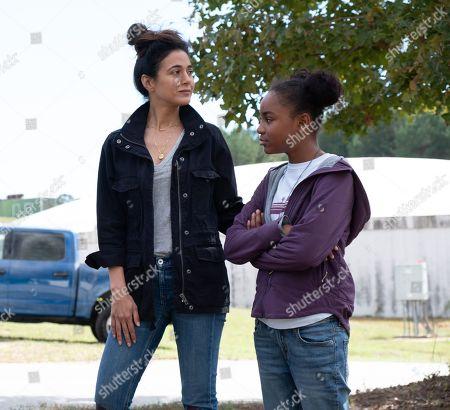 Emmanuelle Chriqui as Dr. Lila Kyle and Saniyya Sidney as Amy Bellafonte