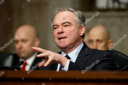 """Senate Armed Services Committee member Sen. Tim Kaine, D-Va., speaks during a Senate Armed Services Committee hearing on """"Nuclear Policy and Posture"""" on Capitol Hill in Washington"""