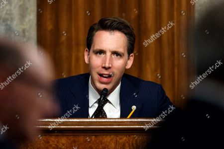 """Senate Armed Services Committee member Sen. Josh Hawley, R-Mo., speaks during a Senate Armed Services Committee hearing on """"Nuclear Policy and Posture"""" on Capitol Hill in Washington"""