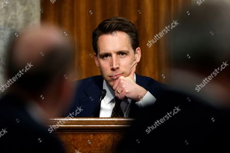 """Senate Armed Services Committee member Sen. Josh Hawley, R-Mo., pauses during a Senate Armed Services Committee hearing on """"Nuclear Policy and Posture"""" on Capitol Hill in Washington"""