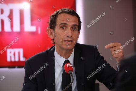 Editorial image of Alexandre Bompard interviewed on RTL Matin radion, Paris, France - 28 Feb 2019