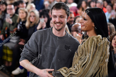 Belgian designer Glenn Martens embrace a model after the presentation of his Fall/Winter 2019/20 Women collection by Y Project during the Paris Fashion Week, in Paris, France, 28 February 2019. The presentation of the Women collections runs from 25 February to 05 March.