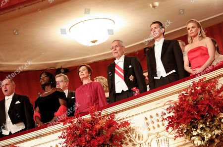 Stock Picture of (L-R) Wolfgang Sobotka, President of the Austrian National Council, the first chamber of the country's Parliament, Auma Obama, the half-sister of former US President Barack Obama, Doris Schmidauer, wife of Austrian President, Austrian President Alexander Van der Bellen, Austrian Chancellor Sebastian Kurz and his girlfriend Susanne Thier attend the opening ceremony of the traditional 63rd Vienna Opera Ball at the State Opera, in Vienna, Austria, 28 February 2019.