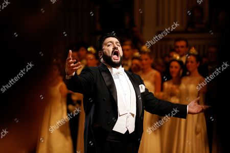 Azerbaijani tenor Yusif Eyvazov performs during the opening ceremony of the traditional 63rd Vienna Opera Ball at the State Opera, in Vienna, Austria, 28 February 2019.