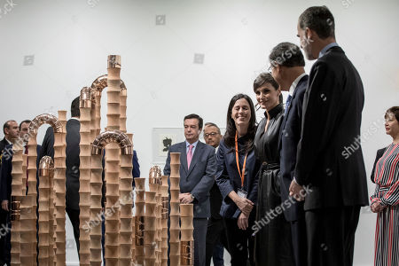 Queen Letizia, King Felipe VI and Martin Vizcarra seen at the Peruvian art pavilion during the second day of the ARCO Madrid contemporary art fair.