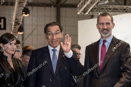Queen Letizia, King Felipe VI and Martin Vizcarra seen at the second day of the ARCO Madrid contemporary art fair.
