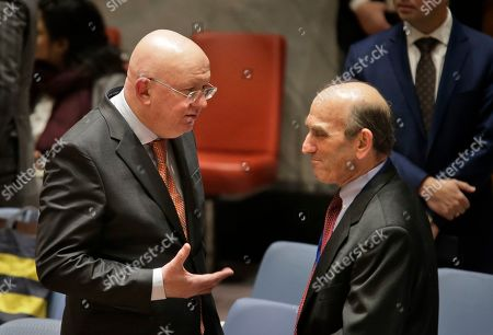 Vasily Nebenzya, Elliott Abrams. Russian ambassador to the United Nations Vasily Nebenzya, left, speaks to the United States special envoy to Venezuela Elliott Abrams before the start of a Security Council meeting at U.N. headquarters