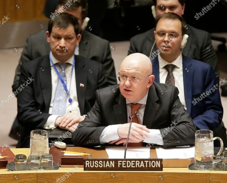 Russian ambassador to the United Nations Vasily Nebenzya speaks during a Security Council meeting at U.N. headquarters