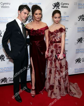 Stock Image of Dylan Michael Douglas, Catherine Zeta-Jones and Carys Zeta-Douglas