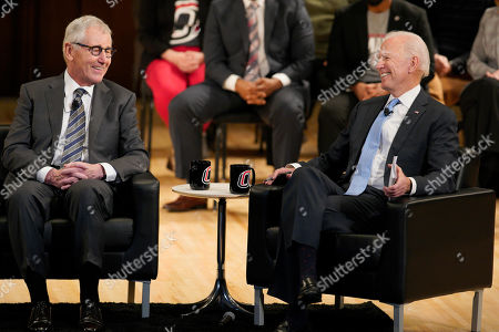 Joe Biden, Chuck Hagel. Former Vice President Joe Biden, right, laughs with former Sect. of Defense Chuck Hagel, during a conversation on state at the Chuck Hagel Forum in Global Leadership, on the campus of the University of Nebraska-Omaha, in Omaha, Neb