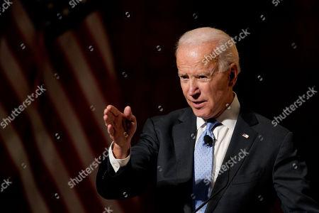 Former Vice President Joe Biden speaks at the Chuck Hagel Forum in Global Leadership, on the campus of the University of Nebraska-Omaha, in Omaha, Neb