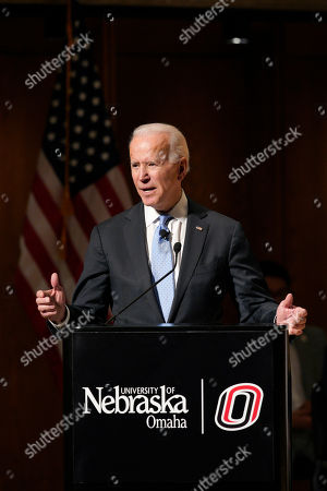 Stock Photo of Former Vice President Joe Biden speaks at the Chuck Hagel Forum in Global Leadership, on the campus of the University of Nebraska-Omaha, in Omaha, Neb