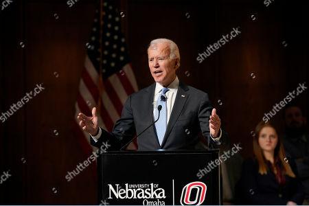 Stock Picture of Former Vice President Joe Biden speaks at the Chuck Hagel Forum in Global Leadership, on the campus of the University of Nebraska-Omaha, in Omaha, Neb