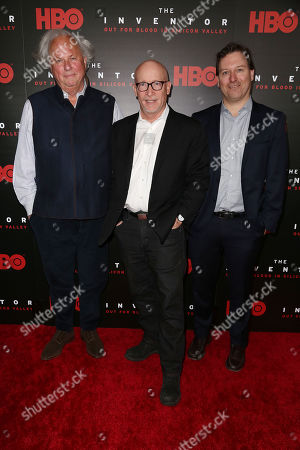 Stock Photo of Graydon Carter (Producer), Alex Gibney (Director) and John Carreyrou (Author)