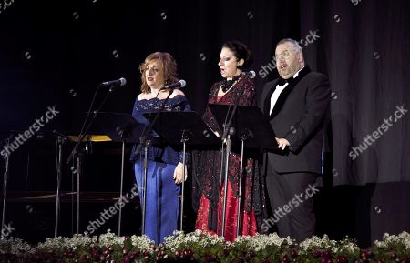 Spanish mezzo-soprano Beatriz Gimeno (L), Spanish soprano Montserrat Marti Caballe (C) and baritone Luis Santana (R) perform during a concert tribute to late Spanish opera singer Montserrat Caballe in Motril, Spain, 28 February 2019. Caballe died 06 October 2018 at the age of 85 years old.