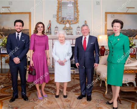 King Abdullah II and Queen Rania, Queen Elizabeth II, Crown Prince Al Hussein and Princess Anne at Buckingham Palace
