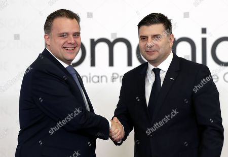 Federal Minister for Telecommunications and Digital Agenda of Belgium Philippe de Backer (L) is welcomed by the Romanian Minister of Communications and Information Society Alexandru Petrescu (R) at the Informal Meeting of EU Telecom Ministers (TTE) in Bucharest, Romania, 01 March 2019.  According to official reports the agenda will focus on artificial intelligence and the Digital Single Market Strategy after 2020.