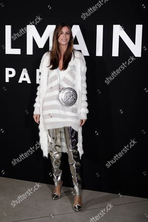 Christina Pitanguy poses for photographers upon arrival at the Balmain ready to wear Fall-Winter 2019-2020 collection, that was presented in Paris