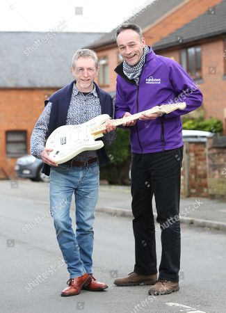 Editorial picture of When Dave Allen's Cherished Signed Guitar Went Missing In The Post A Decade Ago He Gave Up Hope Of Ever Seeing The £20 000 Item Again Until It Turned Up On Ebay Recently. Dave Allen Left With Andy Goss Of The Charity Rainbows Which Will Be The Recip