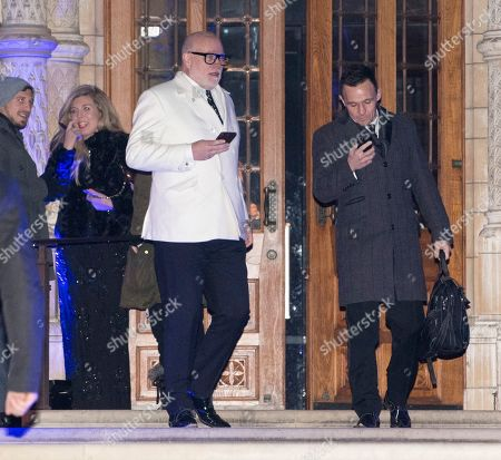 Editorial photo of Gary Goldsmith Leaves The Conservative Fund Raising Event The Black And White Party At The Natural History Museum London. Woman On Left Is Carrie Symonds Picture - Mark Large .... 07.02.18 Picture - Mark Large 07.02.18.