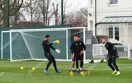 Fulham goalkeepers Sergio Rico, Fabricio Agosto Ramirez and Magnus Norman with goalkeeping coach Paolo Orlandoni