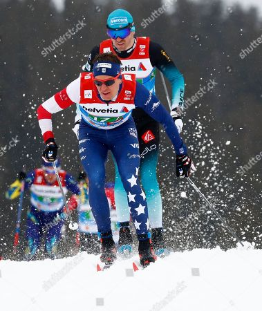 United States' Scott Patterson competes in a men's cross country 4x10km relay, at the Nordic ski World Championships in Seefeld, Austria