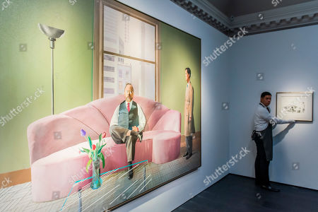 Stock Photo of David Hockney, Henry Geldzahler and Christopher Scott, 1969, est £30m with a sketch for the work, est £180-250,000