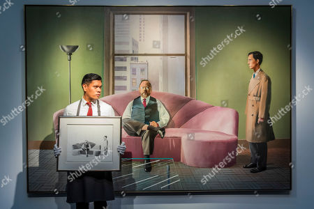 Stock Picture of David Hockney, Henry Geldzahler and Christopher Scott, 1969, est £30m with a sketch for the work, est £180-250,000