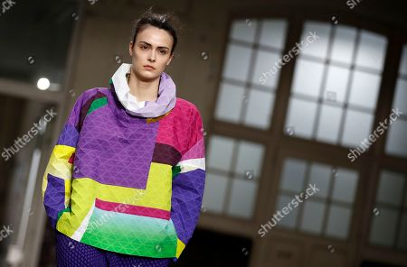 Stock Photo of A model presents a creation from the Fall/Winter 2019/20 Women collection by Japanese designer Yoshiyuki Miyamae for Issey Miyake fashion house during the Paris Fashion Week, in Paris, France, 01 March 2019. The presentation of the Women's collections runs from 25 February to 05 March.