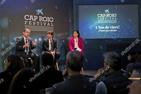 (From left) La Caixa Foundation's General Director Jaume Giro; Cap Roig music Festival's Director Juli Guiu (C) and Spanish CaixaBank's Corporate Manager of Communication, Institutional Relations, Brand and CSR, Maria Lluisa Martinez address a press conference to present the programme of the next Cap Roig Music Festival, in Barcelona, northeastern Spain, 01 March 2019. International stars such as Sting, Diana Krall, Jamie Cullum and Liam Gallagher are scheduled to perform in the festival running from 12 July to 21 August 2019.