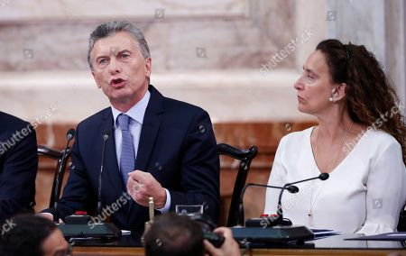 Mauricio Macri, Gabriela Michetti. Argentina's President Mauricio Macri delivers his State of the Nation speech that marks the opening 2019 session of Congress, in Buenos Aires, Argentina, . Pictured left is Vice President Gabriela Michetti