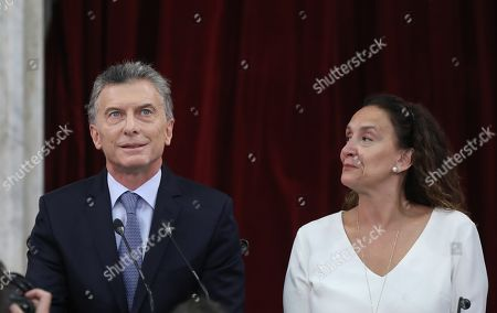 Argentine President Mauricio Macri (L), accompanied by the Vicepresident of the country and head of the Legislative Assembly, Gabriela Michetti (R), as he delivers his opening speech at the Congress of the Nation, in Buenos Aires, Argentina, 01 March 2019.  Macri arrived at the National Congress to deliver what will be the last speech of his term before Parliament, with which he will open the 137th regular legislative session in a year marked by the presidential elections next October.